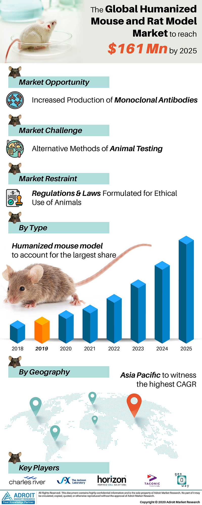 Humanized Mouse and Rat Model Market by Material, Application, and Region, Global Forecasts 2018 to 2025