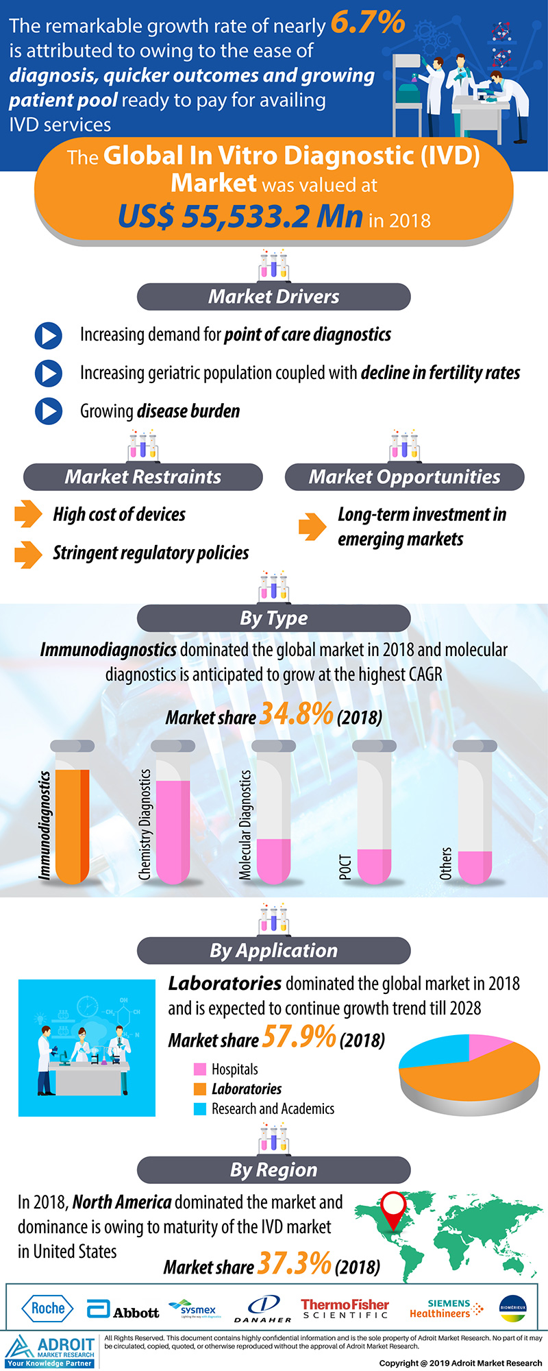 Global In Vitro Diagnostics (IVD) Market Size 2018 By Type, Application, Region and Forecast 2019 to 2028
