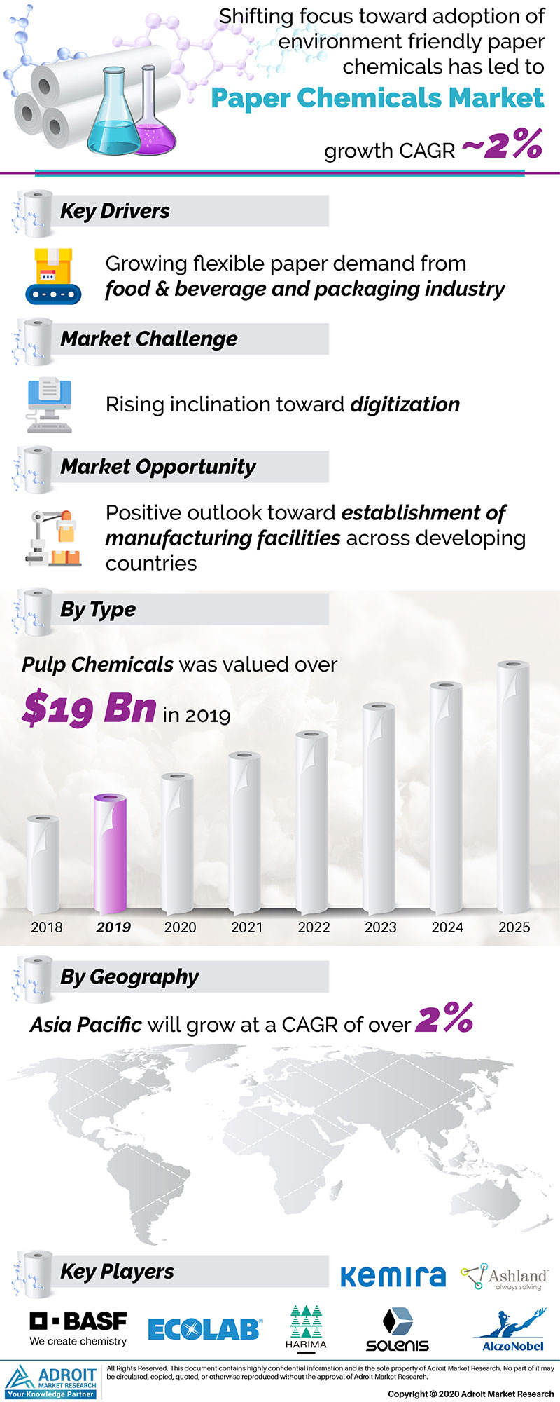 Paper chemicals Market by Material, Application, and Region, Global Forecasts 2018 to 2025